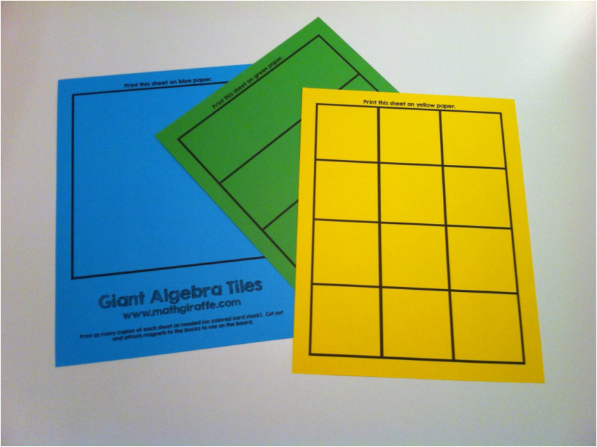 photograph regarding Algebra Tiles Printable called Huge Algebra Tiles for Magnetic Whiteboard - Absolutely free Obtain