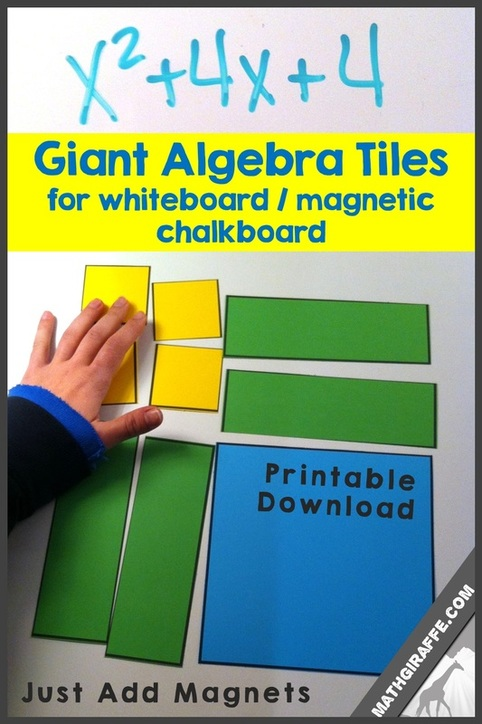 graphic relating to Algebra Tiles Printable called Big Algebra Tiles for Magnetic Whiteboard - Cost-free Down load