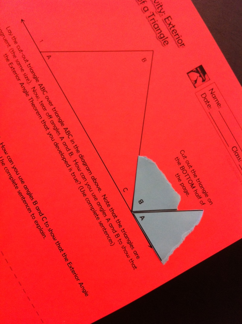 Discovering Exterior Angles and Remote Interior Angles of a Triangle