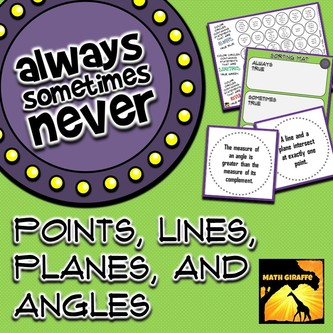 Points, Lines, Planes, and Angles in Geometry - Always, Sometimes, or Never True Activity