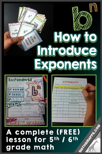 Introducing Exponents - a lesson for 5th and 6th grade math (free)