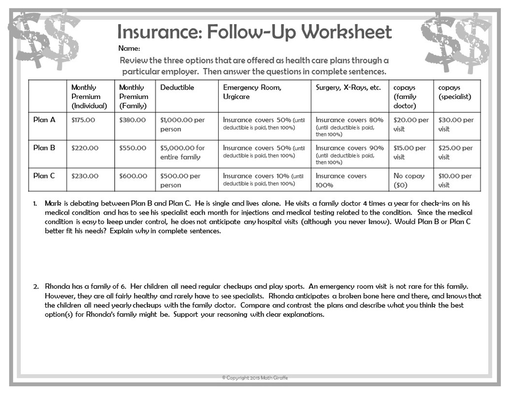 Financial planning worksheets for highschool students
