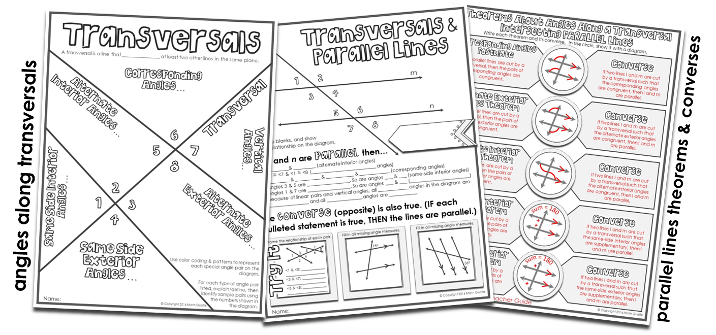Fun Activities For Parallel Line Theorems Angle Pairs Along