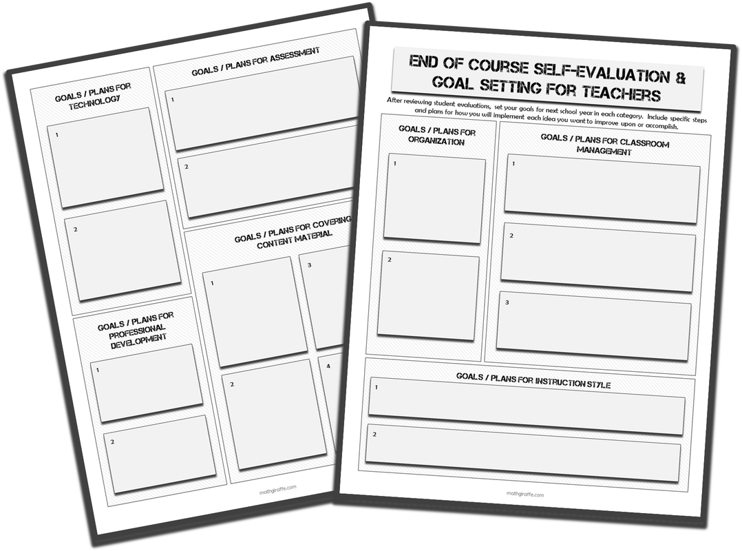 End of Year Teacher Goal-Setting Form
