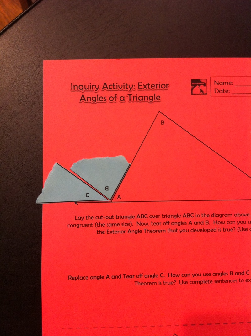Using hands on inquiry in high school geometry What do exterior angles of a triangle add up to