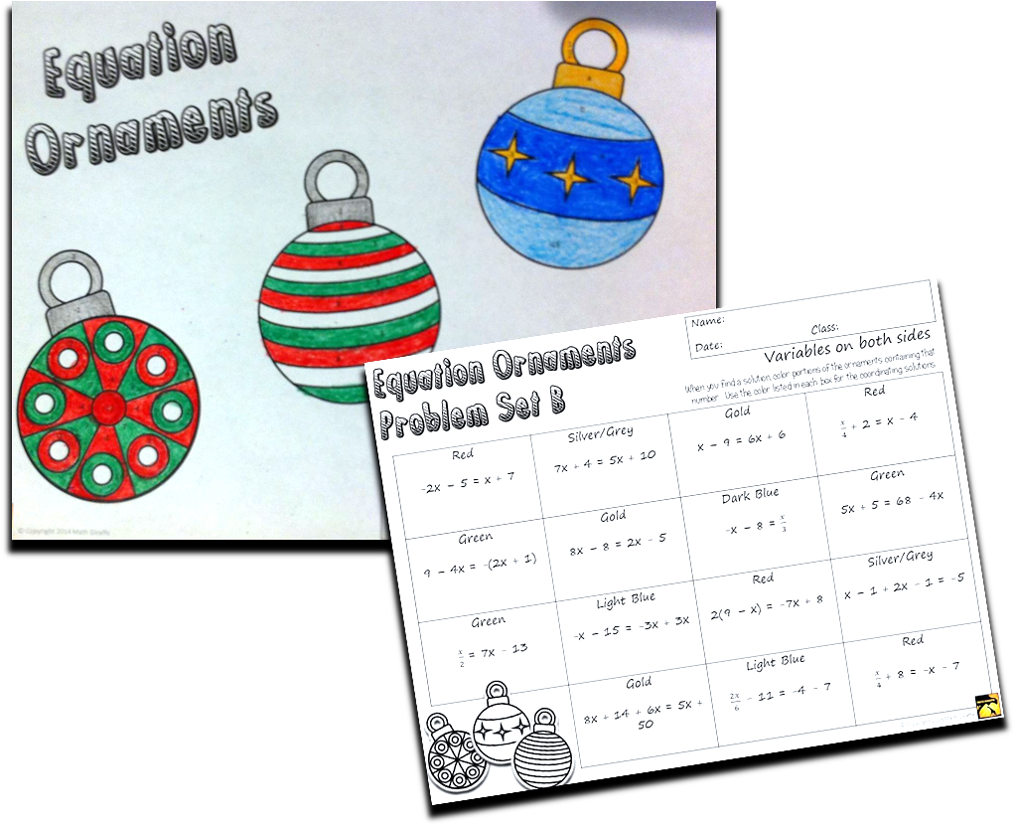 Christmas Algebra - solving equations