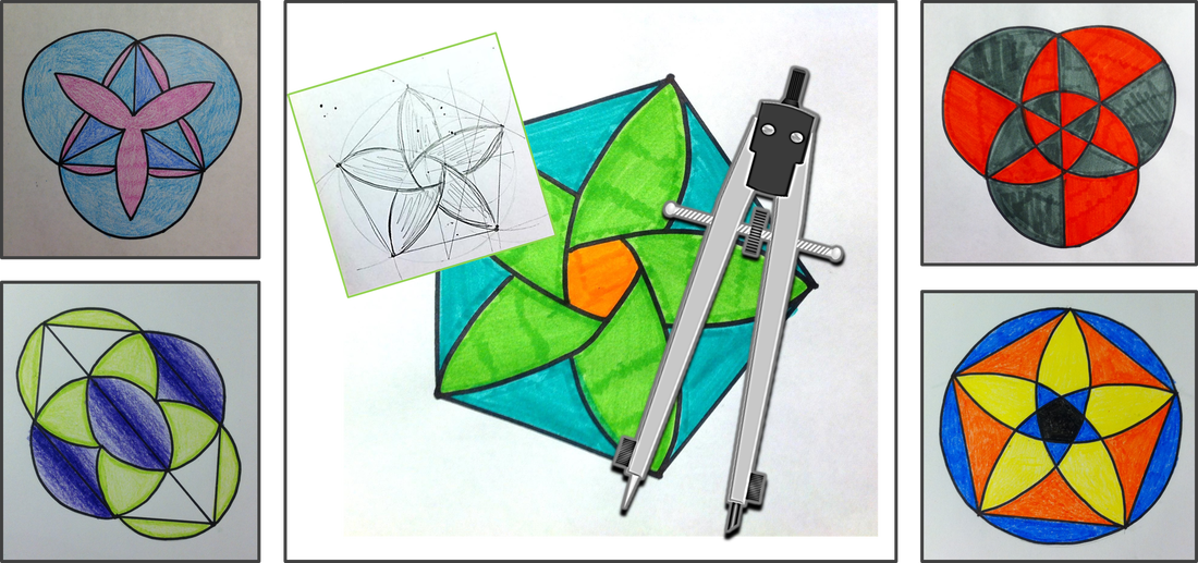 geometry construction art - midpoint, perpendicular bisector, regular pentagon, and more with a compass