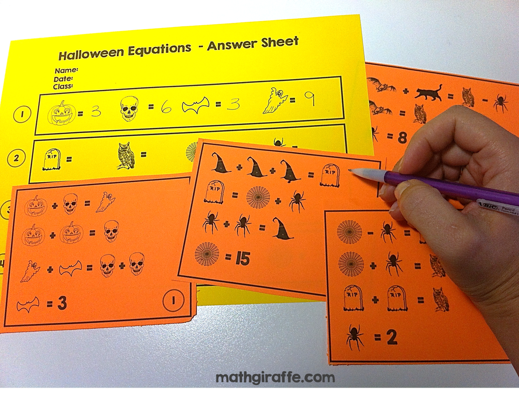 Halloween Equations - Free Download for grades 4 - 10