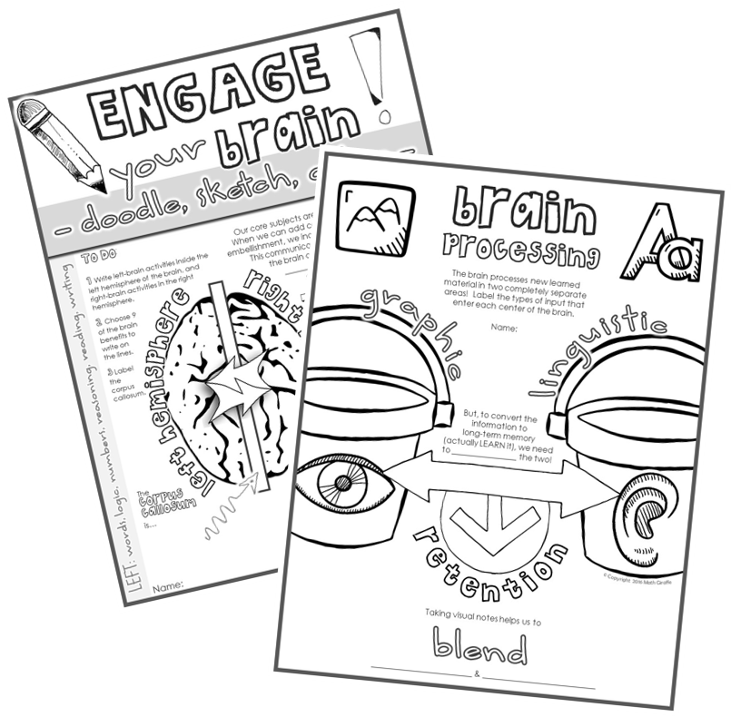 brain based teaching with visual doodle notes - interactive note pages