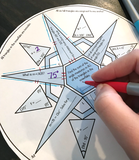 Christmas Math - Geometry Snowflake for Congruent Triangles