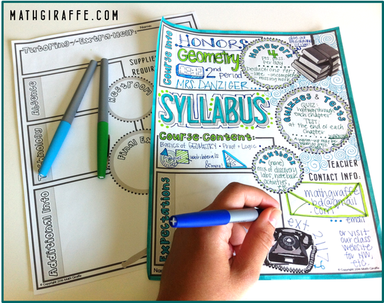 Free Doodle Syllabus Template for Math Class