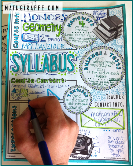 Free Syllabus Template -- Doodle Style -- From Math Giraffe